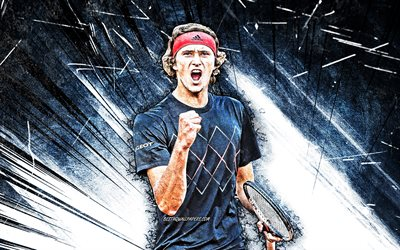 4k, alexander zverev, grunge art, german tennis players, atp, gray abstract rays, tennis, zverev, fan art, alexander zverev 4k