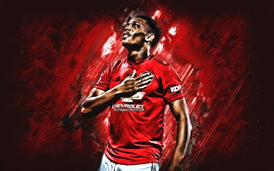 Anthony Martial, French footballer, Manchester United FC, portrait, red stone background, Premier League, England, football