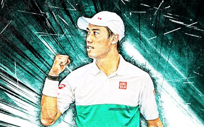 4k, kei nishikori, grunge art, atp, japanese tennis players, tennis, blue abstract rays, nishikori, fan art, kei nishikori 4k
