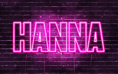 Hanna, 4k, wallpapers with names, female names, Hanna name, purple neon lights, horizontal text, picture with Hanna name