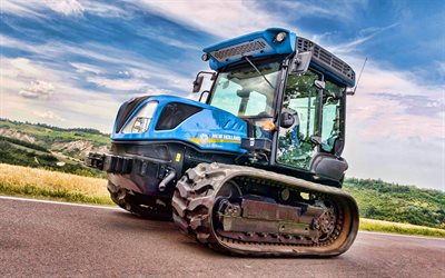 New Holland TK4-100M, 4k, crawler tractor, 2020 tractors, agricultural machinery, tractor, harvest, New Holland