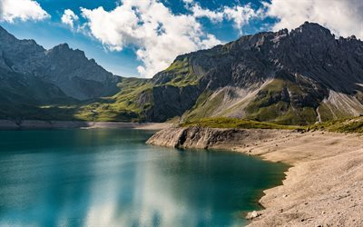 Mountain lake, spring, sunny day, mountains, Luner See, Lunersee, Vorarlberg, Austria