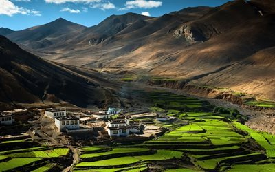 Himalayas, Tibet, Asia, mountain village, mountains, China