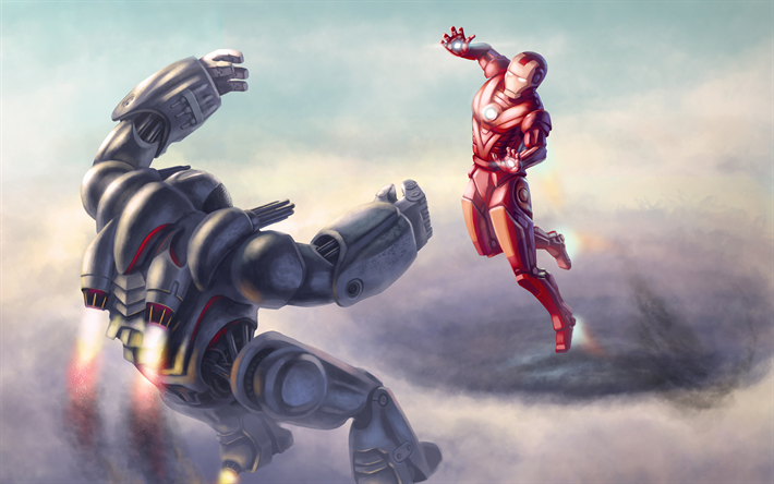 download wallpapers war machine vs iron man superheroes