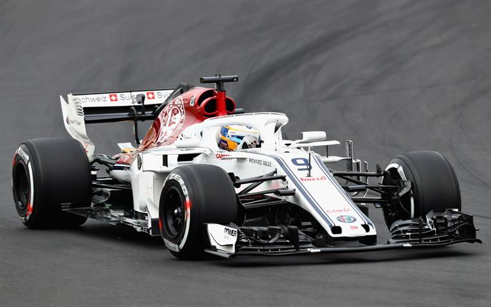 Wallpaper Sauber C37 Alfa Romeo F1 2018 Formula 1 F1: Download Wallpapers Marcus Ericsson, 4k, Raceway, 2018