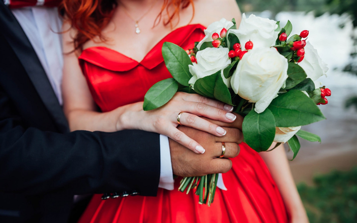 Wedding Bouquet White Roses Red Dress Photoshoot Bride And Groom We Offer You To Download Wallpapers