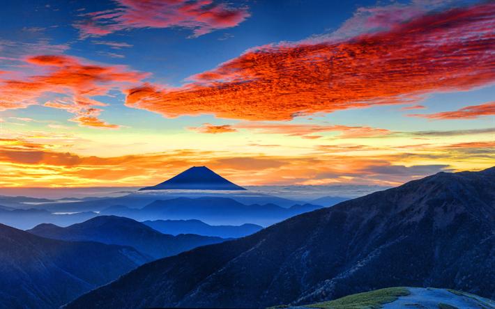 Download wallpapers Fujiyama, 4k, Mount Fuji, sunset ...