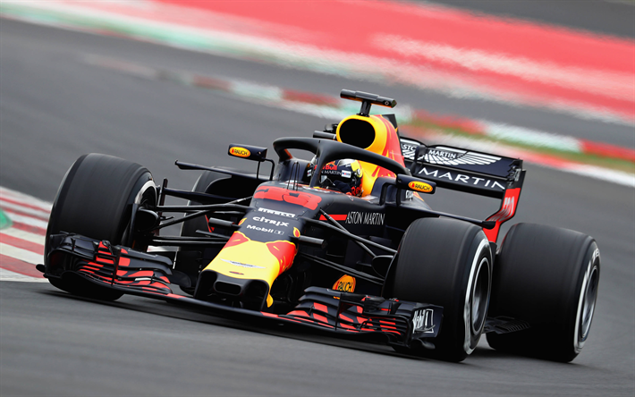 Download Wallpapers Max Verstappen 4k Raceway 2018 Cars F1 Formula 1 Halo Aston Martin Red Bull Racing Rb14 Verstappen Formula One Red Bull Racing Rb14 For Desktop Free Pictures For Desktop Free