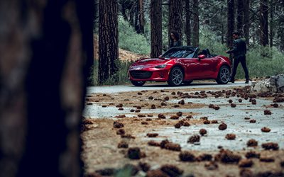 2020, Mazda MX-5, Miata, front view, exterior, red roadster, new red MX-5, convertible, japanese cars, Mazda