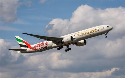 Boeing 777-300ER, Emirates Airlines, airliner, passenger plane, air travel, Boeing