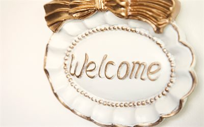 Welcome sign, bronze bow, ceramic sign, Welcome, vintage art, Welcome concepts