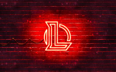 League of Legends red logo, LoL, 4k, red brickwall, League of Legends logo, 2020 games, League of Legends neon logo, League of Legends, LoL logo