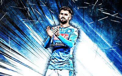 4K, Elseid Hysaj, grunge art, SSC Napoli, Albanian footballers, Série A, Elseid Gezim Hysaj, Italy, football, blue abstract ray, Napoli FC