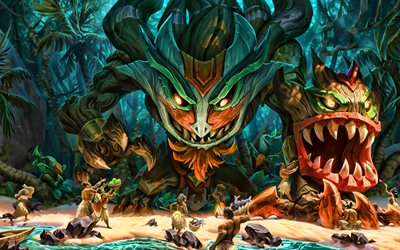 Maokai, monsters, MOBA, League of Legends, 2020 games, warrior, artwork, Maokai League of Legends