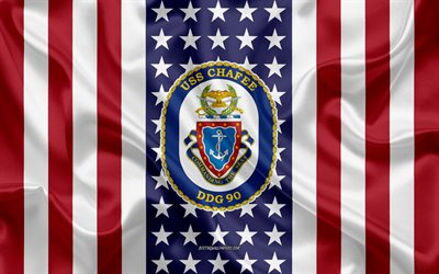 USS Chafee Emblem, DDG-90, American Flag, US Navy, USA, USS Chafee Badge, US warship, Emblem of the USS Chafee