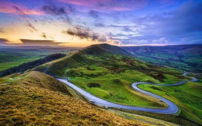 Chrome Hill, 4k, sunset, Parkhouse Hill, vacker natur, Peak District National Park, Derbyshire, England, Storbritannien, Europa, HDR