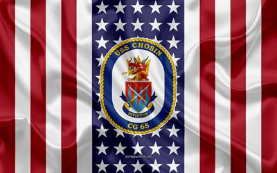 USS Chosin Emblem, CG-65, American Flag, US Navy, USA, USS Chosin Badge, US warship, Emblem of the USS Chosin