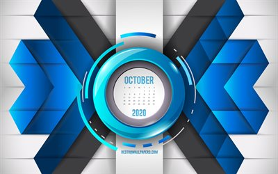2020 October calendar, blue abstract background, 2020 autumn calendars, October, blue mosaic background, October 2020 Calendar, creative blue background
