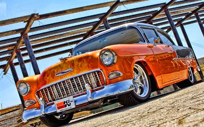 Chevrolet Bel Aire, hot rod, 1955 coches, retro cars, coches americanos, 1955 Chevrolet Bel Air, HDR, Chevrolet