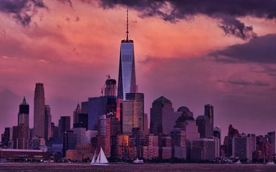 One World Trade Center, Manhattan, New York City, evening, sunset, skyscrapers, One WTC, modern buildings, purple sky, NYC, beautiful sunset, New York cityscape, New York skyline, New York, USA