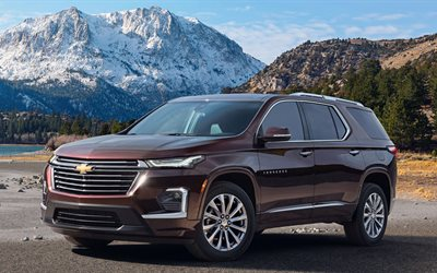 Chevrolet Traverse, 2021, exterior, front view, SUV, new burgundy Traverse, american cars, Chevrolet