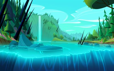 abstract summer landscape, jungle, waterfall, river, abstract nature backgrounds, artwork, 3D art, 3D landscape