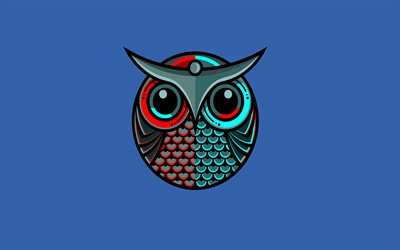 4k, cartoon owl, creative, minimal, blue background, owl minimalism, artwork, owl