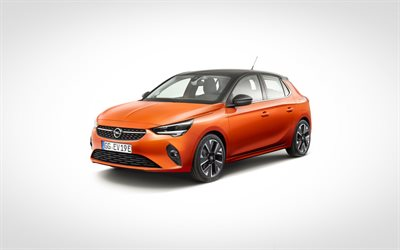 Opel Corsa, 2020, front view, exterior, orange hatchback, new orange Corsa, German cars, Opel
