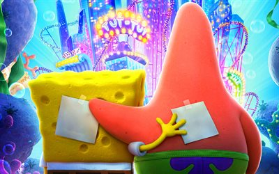4k, SpongeBob SquarePants, Patrick Star, creative, 2020 movie, The SpongeBob Movie Sponge on the Run, poster, SpongeBob