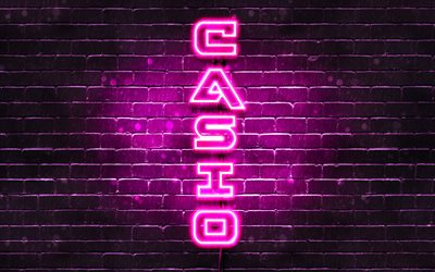 4K, Casio purple logo, vertical text, purple brickwall, Casio neon logo, creative, Casio logo, artwork, Casio