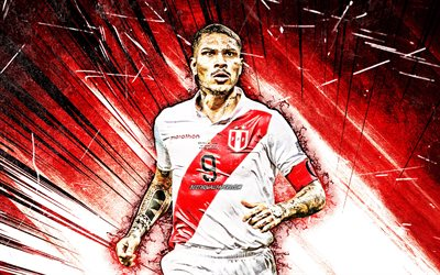 4k, paolo guerrero, grunge, art, peru national team, footballers, jose paolo guerrero gonzales, soccer, red abstract rays, 2019 copa america, peruvian football-team, paolo guerrero 4k