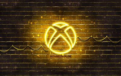 Xbox yellow logo, 4k, yellow brickwall, Xbox logo, brands, Xbox neon logo, Xbox