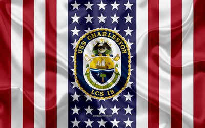 USS Charleston Emblem, LCS-18, American Flag, US Navy, USA, USS Charleston Badge, US warship, Emblem of the USS Charleston