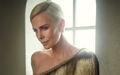 Charlize Theron, american actress, portrait, photoshoot, golden luxurious dress, beautiful woman