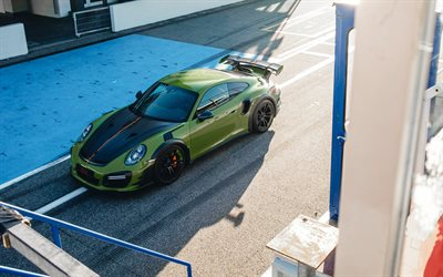 2019, Porsche 911 Turbo S GT Street RS, Techart, front view, green sports coupe, tuning 911 Turbo S, German cars, Porsche
