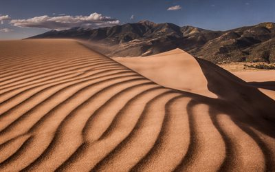desert, sand dunes, mountain landscape, waves in the sand, Africa