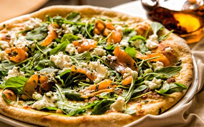 seafood pizza, fast food, salmon pizza, arugula pizza, italian food, pizza