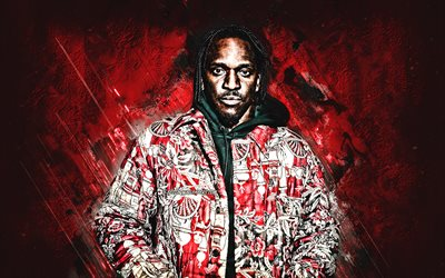 Pusha T, Terrence LeVarr Thornton, American rapper, portrait, red stone background