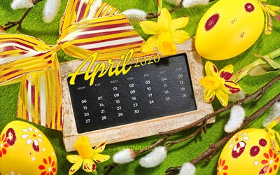 4k, april 2020 kalender, ostern attribute, 2020 kalender, frühling, kalender, april 2020, ostern, april bis 2020 oster-kalender, kalender-april 2020, kunstwerk, kalender april 2020