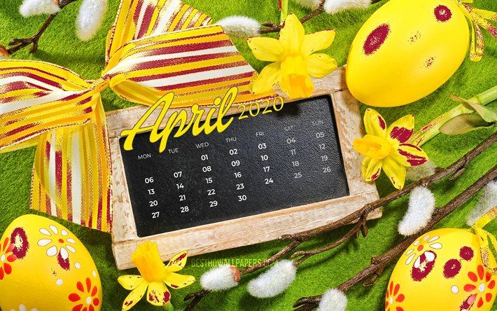 Download Wallpapers 4k April 2020 Calendar Easter Attributes