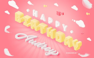 Happy Birthday Audrey, 4k, 3d Art, Birthday 3d Background, Audrey, Pink Background, Happy Audrey birthday, 3d Letters, Audrey Birthday, Creative Birthday Background