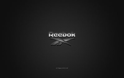 Reebok logo, metal emblem, apparel brand, black carbon texture, global apparel brands, Reebok, fashion concept, Reebok emblem