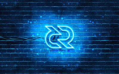 Decred blue logo, 4k, blue brickwall, Decred logo, cryptocurrency signs, Decred neon logo, cryptocurrency, Decred