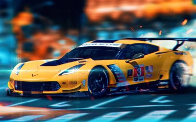 Chevrolet Corvette, 4k, 3D art, racing cars, supercars, creative, Racing Chevrolet Corvette