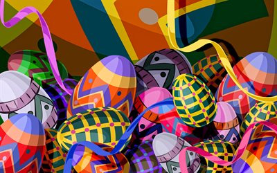 abstract easter eggs, 3D art, creative, easter attributes, artwork, Happy Easter, colorful ribbons, easter eggs