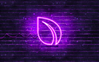Peercoin violet logo, 4k, violet brickwall, Peercoin logo, cryptocurrency, Peercoin neon logo, cryptocurrency signs, Peercoin