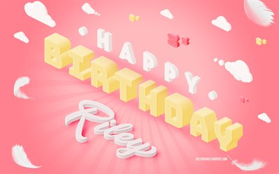 Happy Birthday Riley, 4k, 3d Art, Birthday 3d Background, Riley, Pink Background, Happy Riley birthday, 3d Letters, Riley Birthday, Creative Birthday Background