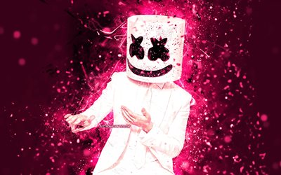 4K, DJ Marshmello, purple neon lights, dance, superstars, Christopher Comstock, american DJ, purple backgrounds, music stars, Marshmello 4K, creative, Marshmello, DJs