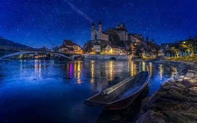 Aarburg Castle, 4k, nightscapes, swiss cities, Aarburg, Aargau, Switzerland, Europe, starry sky, Aarburg at night