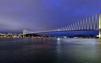 Bosphorus, Istanbul, Bosporen-Bron, 15 Juli Martyrer Bridge, Första Bron, kväll, sunset, suspension bridge, Turkiet